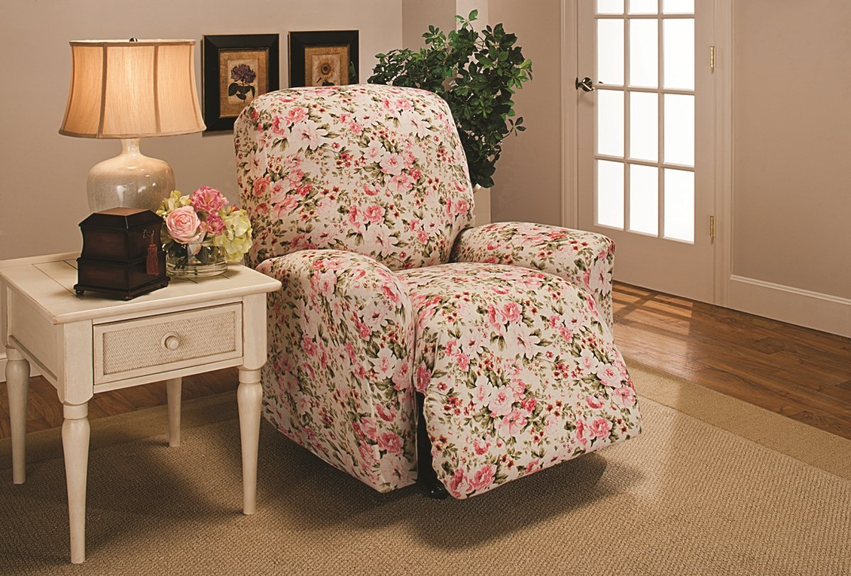 Madison Stretch Jersey Recliner Slipcover, Large, Floral, Pink by Madison