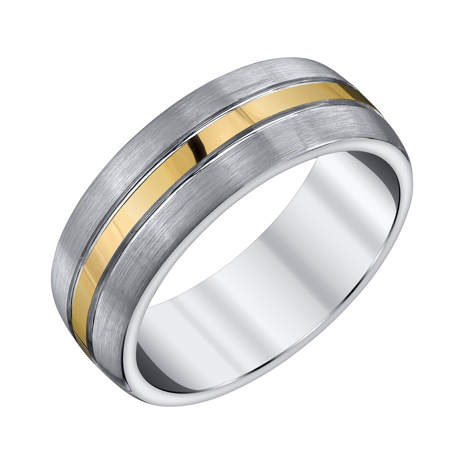 AX Jewelry Mens Grey and Yellow Accent Tungsten Band