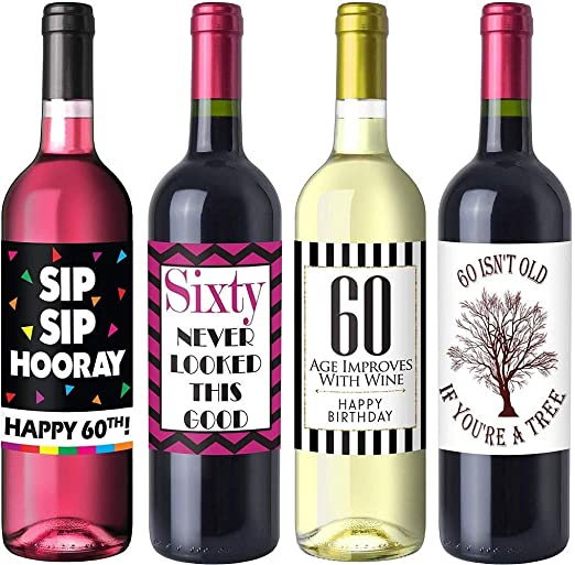 Amazon Com Chic 60th Birthday Wine Label Pack Birthday Party Supplies Ideas And Decorations Funny Birthday Gifts For Women Bar Tools Drinkware