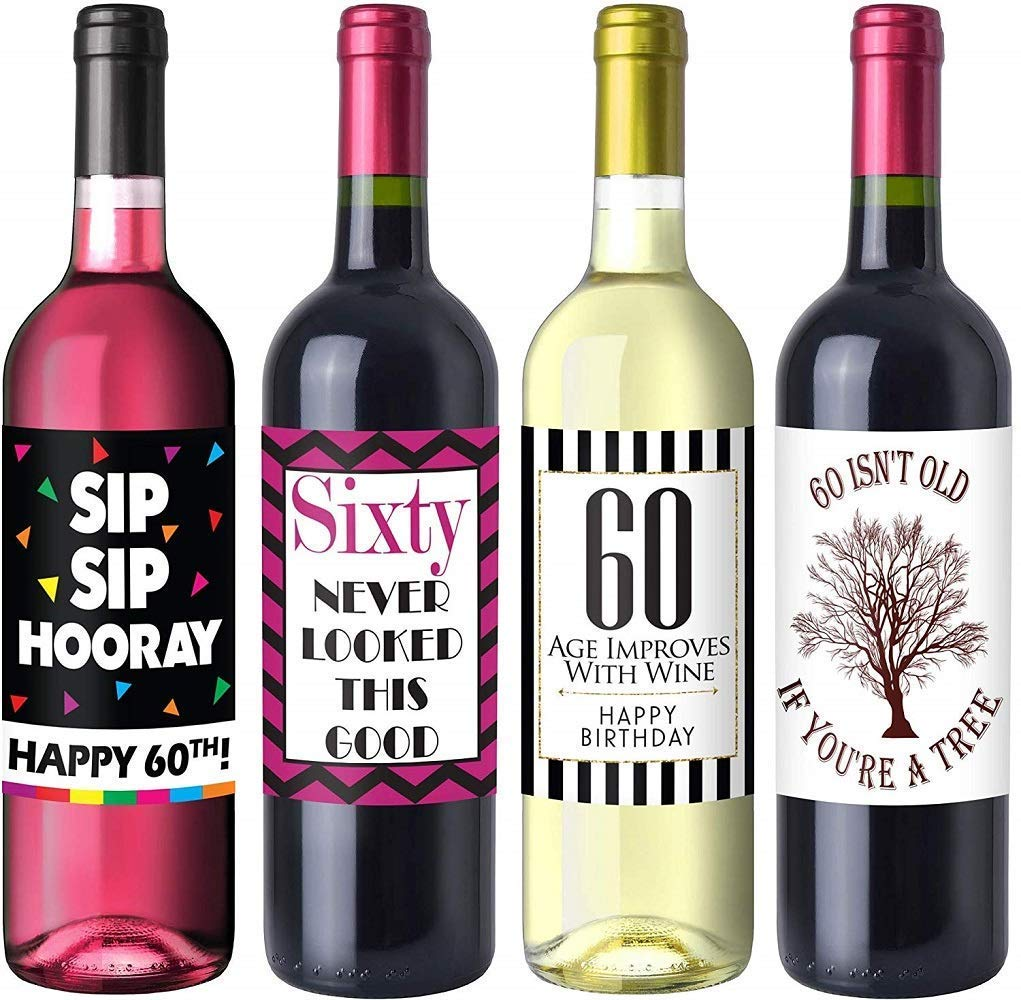 Chic 60th Birthday Wine Label Pack - Birthday Party Supplies, Ideas and Decorations - Funny Birthday Gifts for Women Sterling James Co.