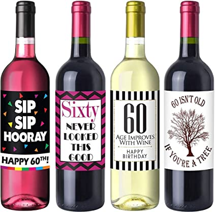 Chic 60th Birthday Wine Label Pack