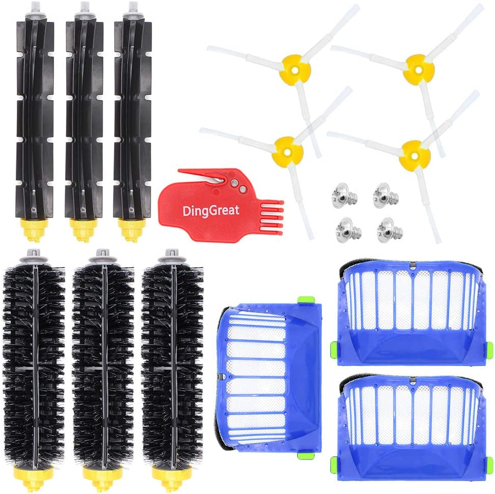 DingGreat Accessory Replacement Kit of Bristle & Flexible Beater Brushes & Side Brushes & Filters for iRobot Roomba 600 Series 614 620 630 650 660 671 680 690 Vacuum Parts