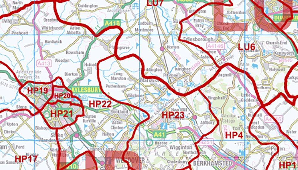 Código Postal Mapa de distrito 8-el sudeste de Inglaterra