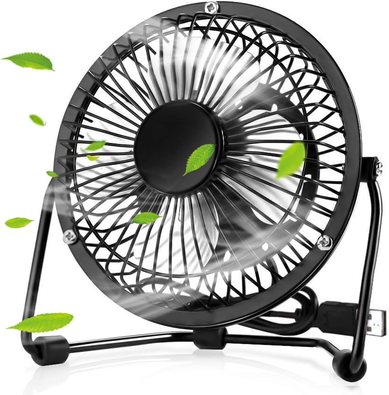 solawill Ventilador USB Mini Ventilador de Mesa Portátil Rotación 360º Pequeño y Potente Ventilador Silencioso para Hogar y Oficina o Viaje Metal Mini Fan: Amazon.es ...