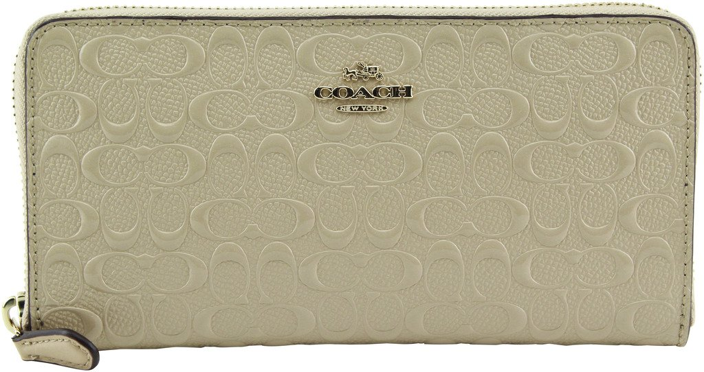 Coach Signature Debossed Patent Leather Accordion Zip Wallet, F54805 (Platinum) by Coach