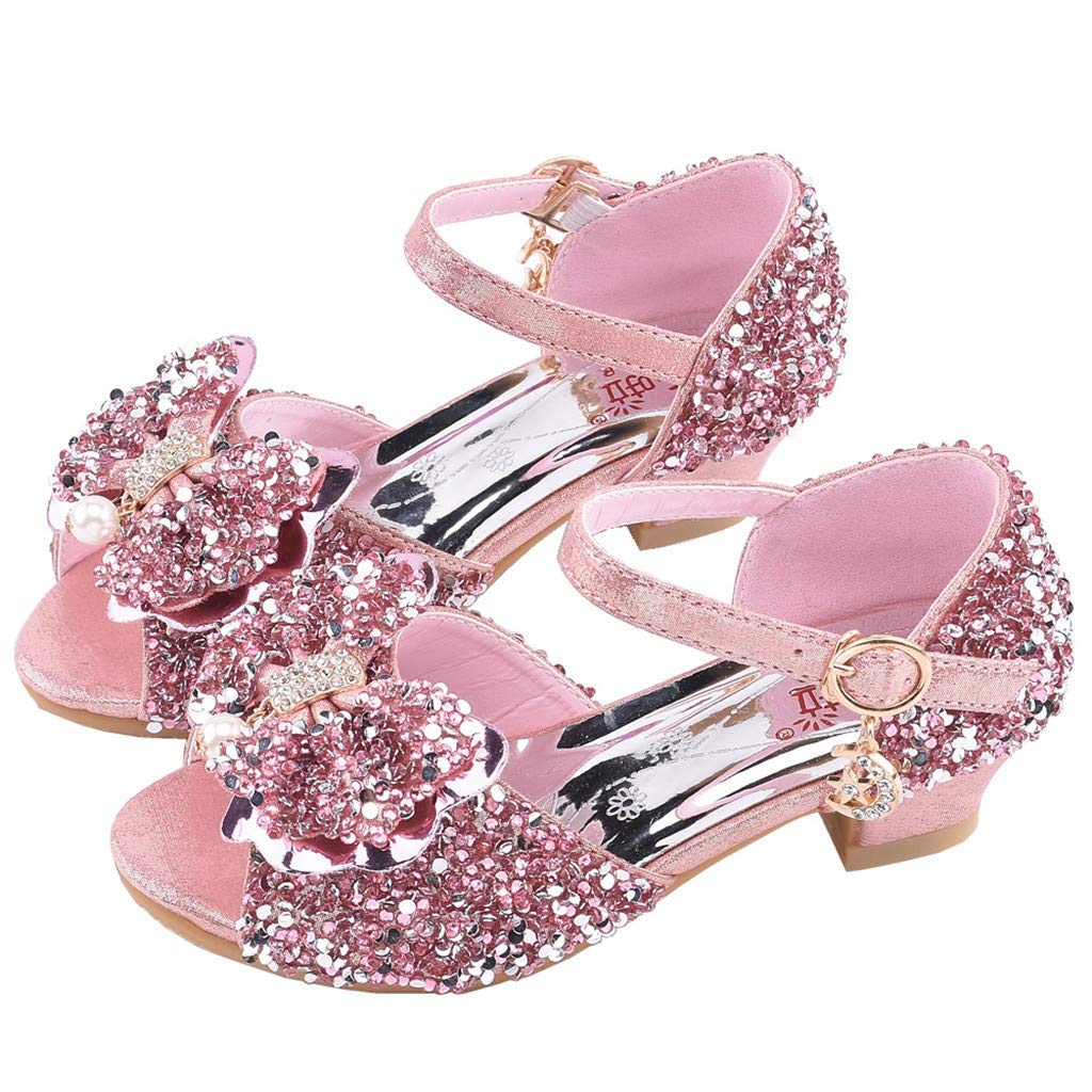 d41436f45cc57 GACOZ Girls Sparkly Latin Dance Shoes, String Bead Sequin Bowknot ...