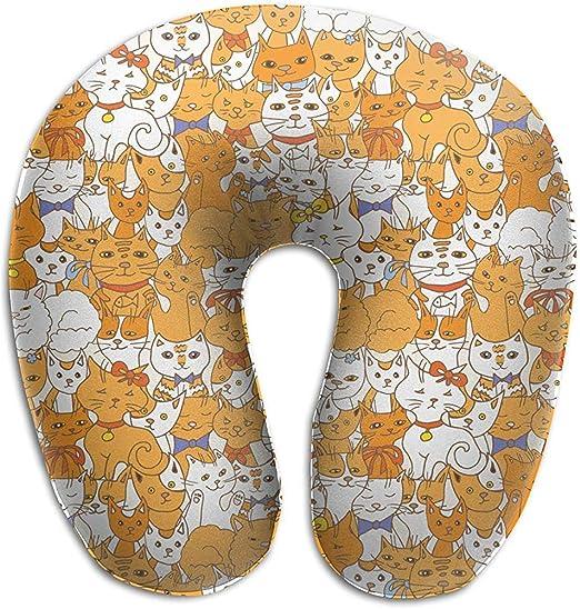 U-Shaped Pillow,Divertido Patrón De Gatos Amarillos Espuma De ...