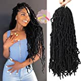 Youngther 18 Inch Nu Faux Locs Crochet Hair Curly Wavy Nu Soft Locs Crochet Hair 6 Packs Goddess Locs Crochet Hair for…