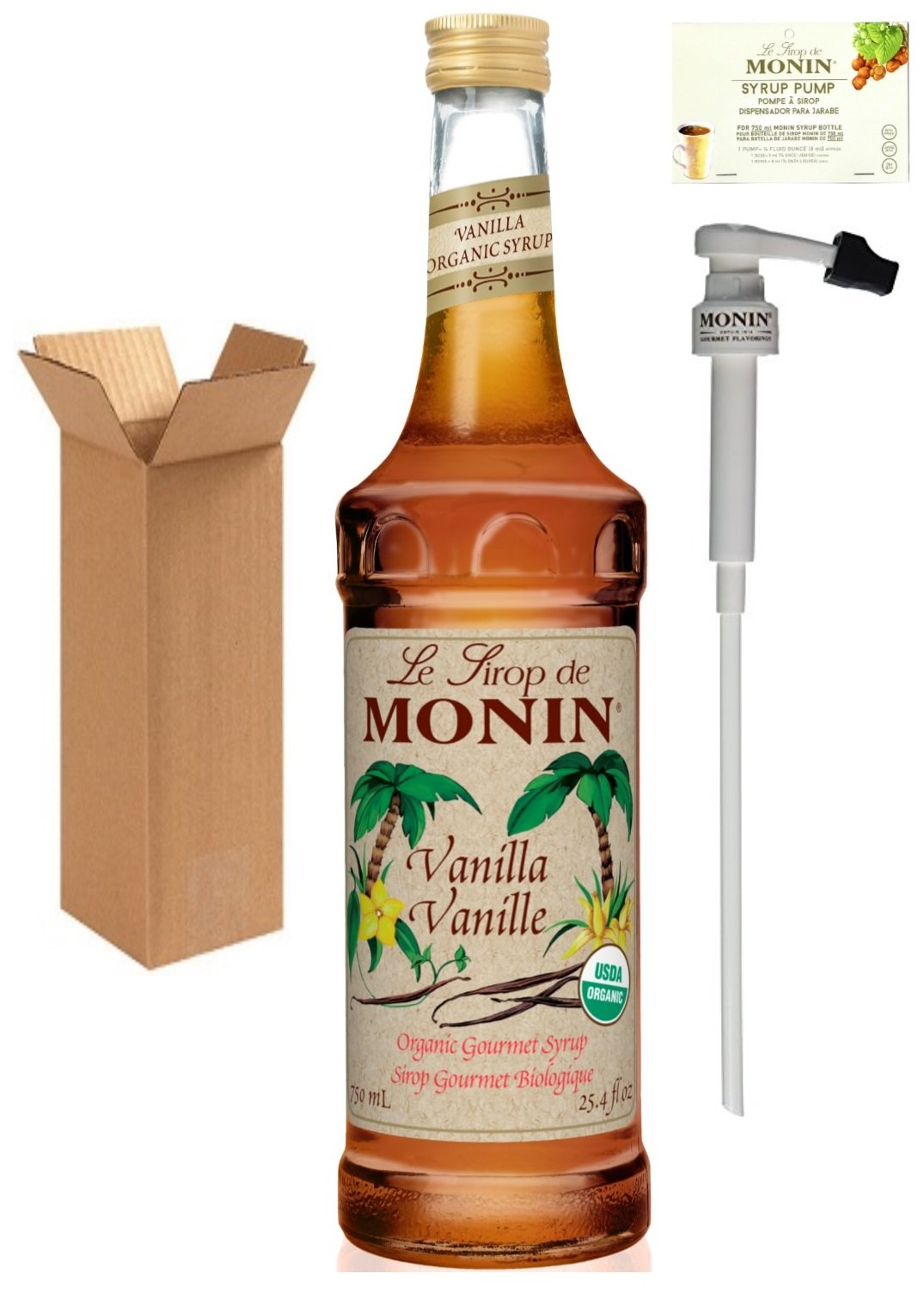 Monin Organic Vanilla Syrup, 25.4-Ounce (750 ml) Glass Bottle with Monin