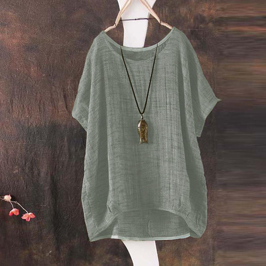 TIFENNY Soft Cotton Linen Shirt for Womens Bat Short Sleeve Casual Loose Top Thin Section Blouse T-Shirt Pullover