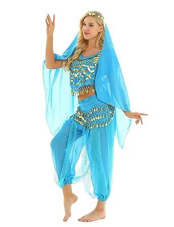 MSemis Traje Disfraz Danza del Vientre para Mujer Disfraz Princesa ...