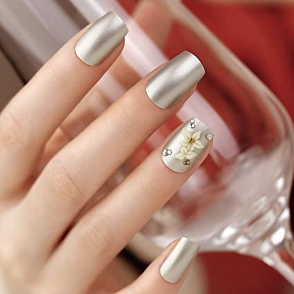 ArtPlus Uñas Postizas Falsas Artificial 24pcs Pearl Silver with Crystals 3D White Flowers Elegant Touch False