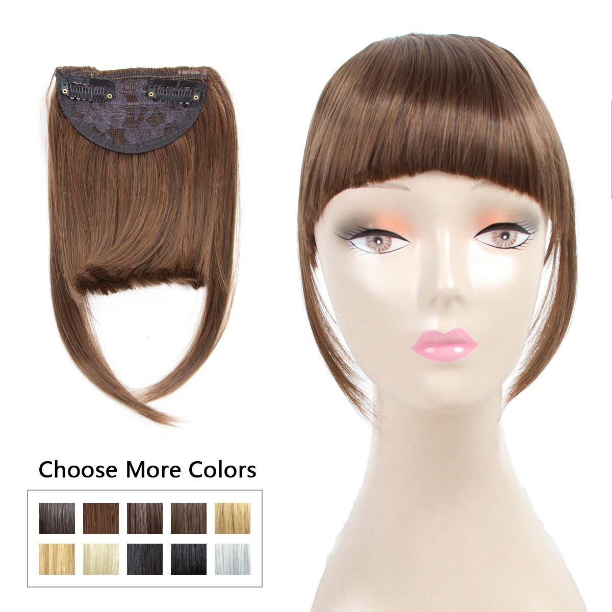 Amazon Fashion Clip In Bangs Dark Brown Fringe Hair Extensions