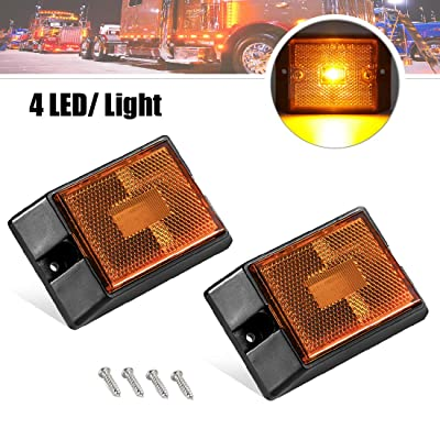 CZC AUTO LED Amber Side Marker Lights, Sealed Submersible LED Clearance Reflector Lamps kit, Waterproof Trailer Running Lights Replacement for 12V Boat Trailer Truck Marine RV, Copper Wire (Amber, 2): Automotive