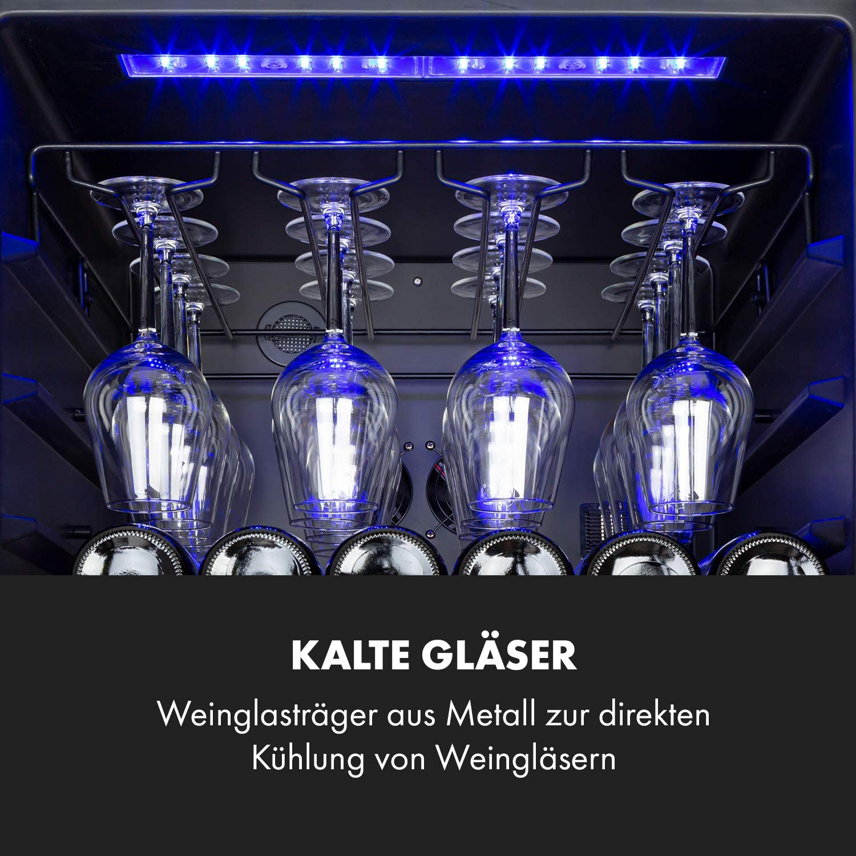 2 K/ühlzonen Klarstein Vinovilla Grande Duo 165 Weinflaschen LED-Beleuchtung Touch 12 Holzeinsch/übe Weink/ühlschrank 425 L Weinglashalterung schwarz Getr/änkek/ühlschrank