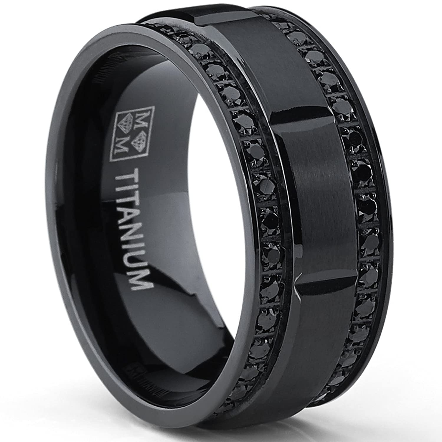 BS men wedding rings Amazon com 9MM Men s Black Titanium Wedding Band Ring with Double Row Black Cubic Zirconia Comfort Fit Jewelry