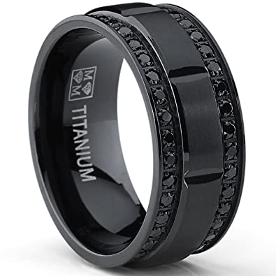 9mm mens black titanium wedding band ring with double row black cubic zirconia comfort fit - Mens Black Titanium Wedding Rings