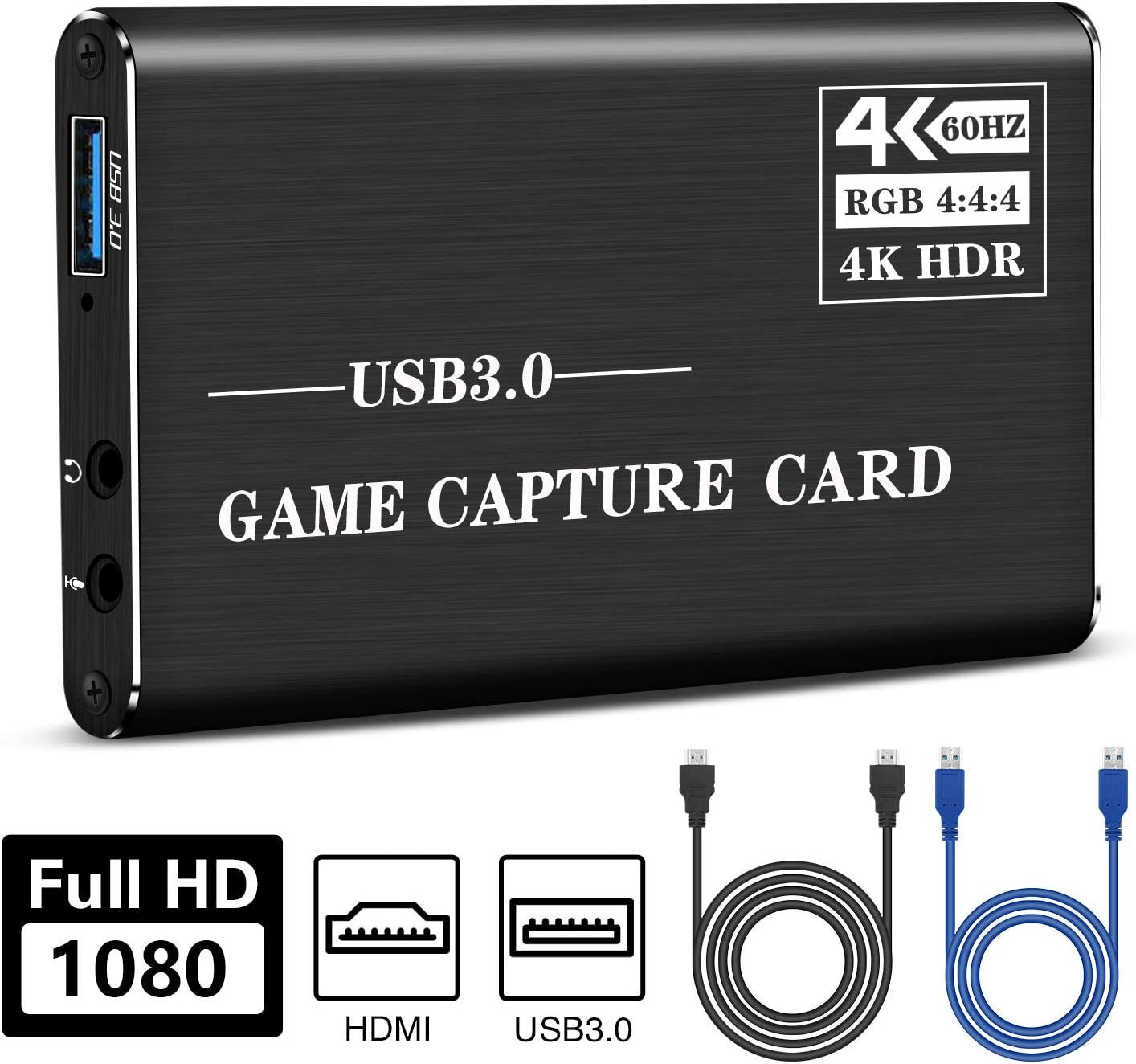 MRLI HD Video Capture Card, USB 3.0 HDMI Audio Capture Card, 4K 60FPS Game Capture Device Game Streaming Live Video Recorder for Xbox One, PS4, Wii, Nintendo Switch