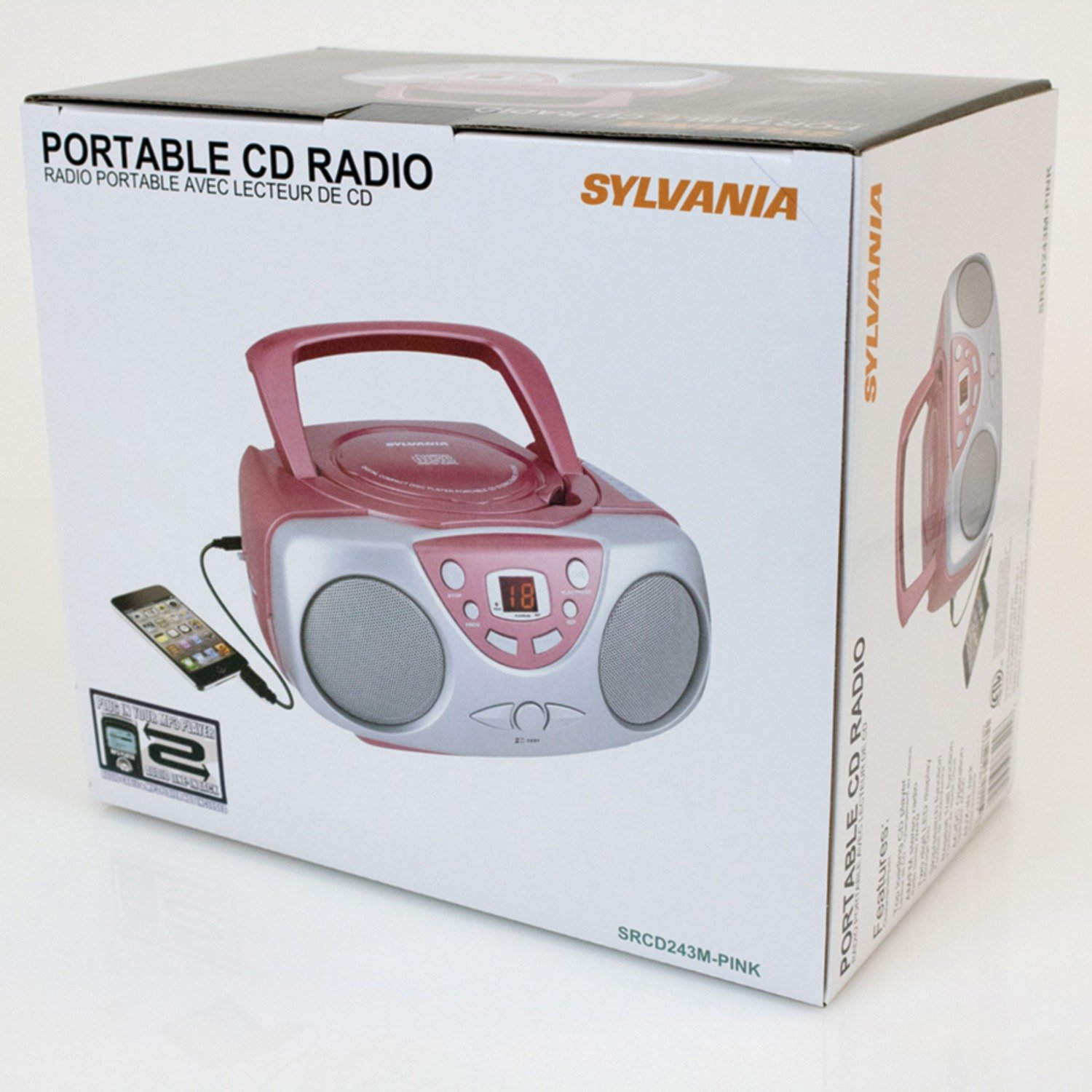 Sylvania SRCD243 Portable CD Player with AM/FM Radio, Boombox (Pink) by Curtis