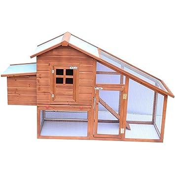PawHut Gallinero Corral de Madera para Exteriores Tipo Jaula Conejera y Establo para Gallinas Pollos y Aves 190x66x116cm: Amazon.es: Productos para mascotas