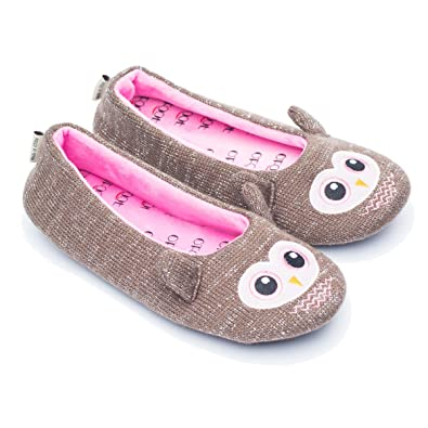 43168e7c51c8 ofoot Womens Ballerina Fluffy Knit Scuff Slippers