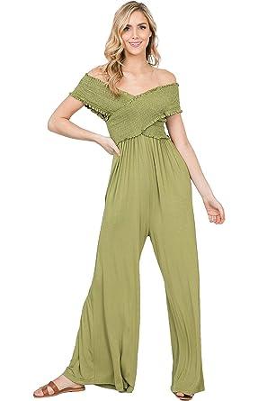 3e702a1063bd Annabelle Solid Knit Smocking Off Shoulder Top Wide Leg Jumpsuit (Avocado