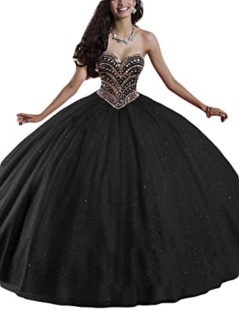 e7ca836854a LMBRIDAL Women s Ball Gown Sweetheart Quinceanera Dress Sequined Prom Gown  Black 2