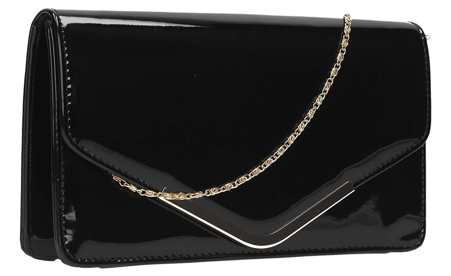 d563f76fd0 Sara Patent Leather Envelope Womens Party Prom Ladies Clutch Bag -  SWANKYSWANS