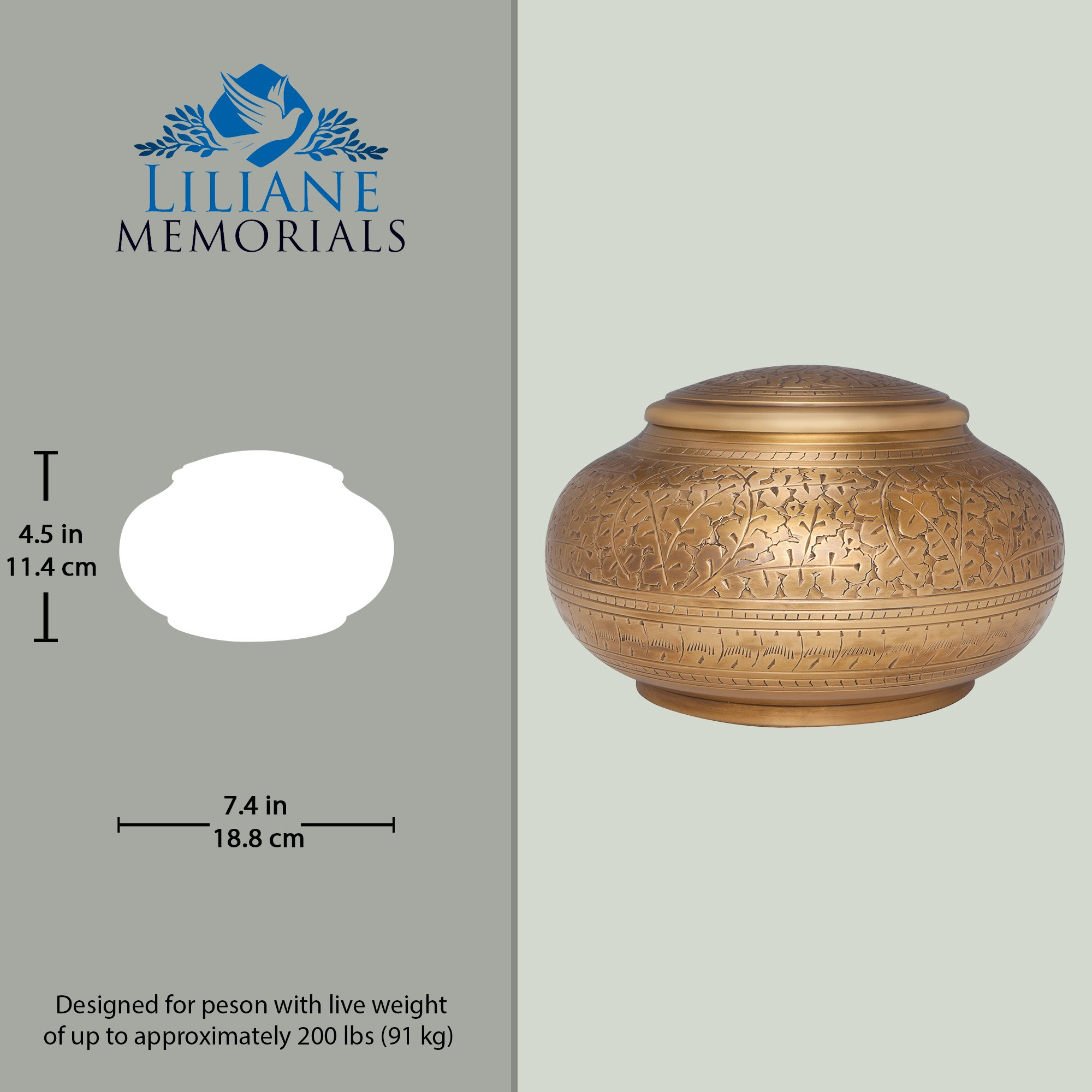 Bronze Antique Brass Funeral Urn by Liliane Memorials - Cremation Urn for Human Ashes - Hand Made in Brass - Suitable for Cemetery Burial or Niche - Large Size fits remains of Adults up to 110 lbs by Liliane Memorials (Image #4)
