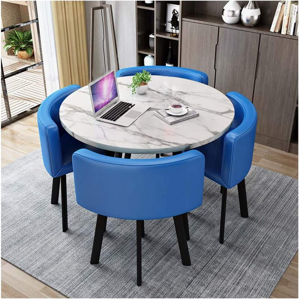Amazon Com Table And Chair Combination Balcony Dining Room Kitchen Set Of 5 80cm 90cm Office Reception Leisure Simple Wooden Round Metal Legs 4 Leather