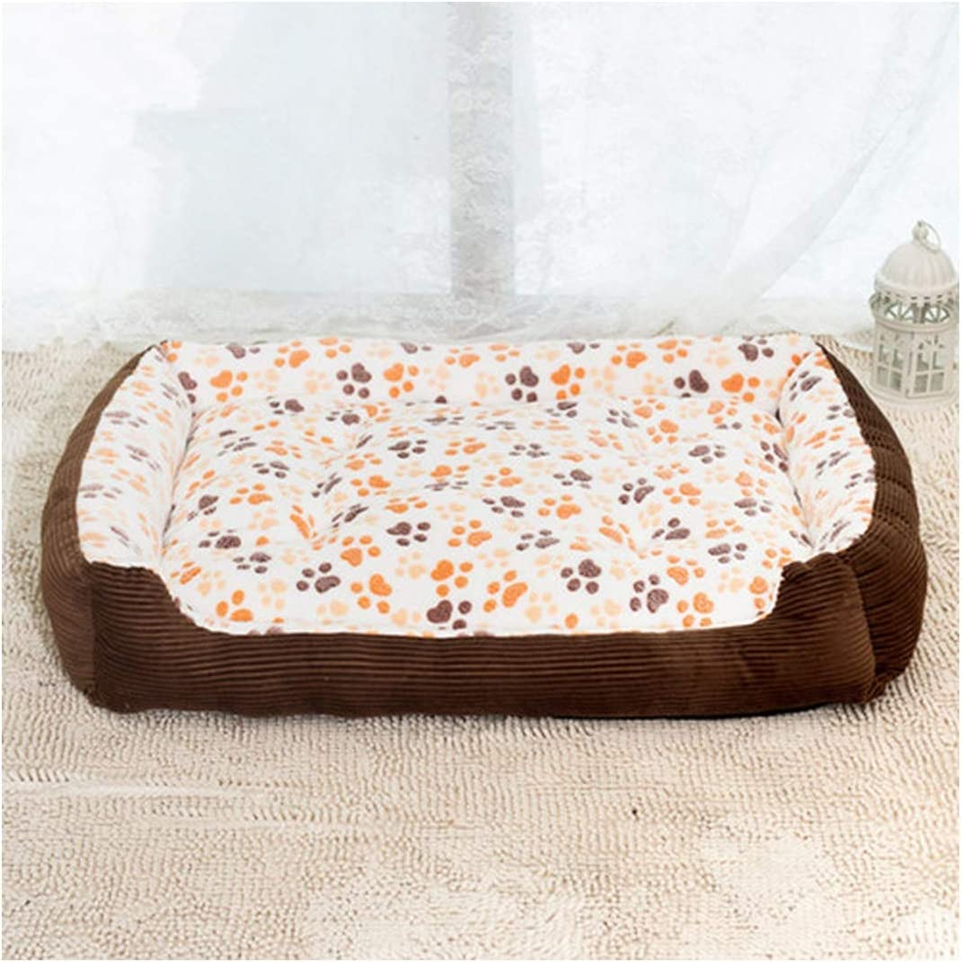 Corduroy Padded Waterproof Large Breed Dog Bed Sofa Mat Cat Pet Bed House for Large Dogs Blanket Cushion Kennel,Beige,Xs
