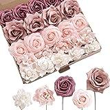 Ling's moment Artificial Flowers Shabby Dusty Rose Combo Box Set for DIY Wedding Bouquets Centerpieces Arrangements Bridal Sh