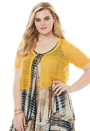 ee61fa87c4c85 Roamans Women s Plus Size Cropped Pointelle Cardigan at Amazon Women s  Clothing store