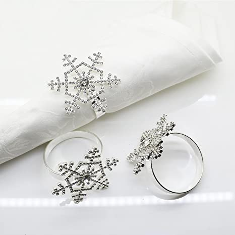 Amazon Com Snowflake Napkin Rings Set Of 12 For Christmas Holidays Dinners Parties Everyday Use Silver Silver Rhinestone Home Kitchen