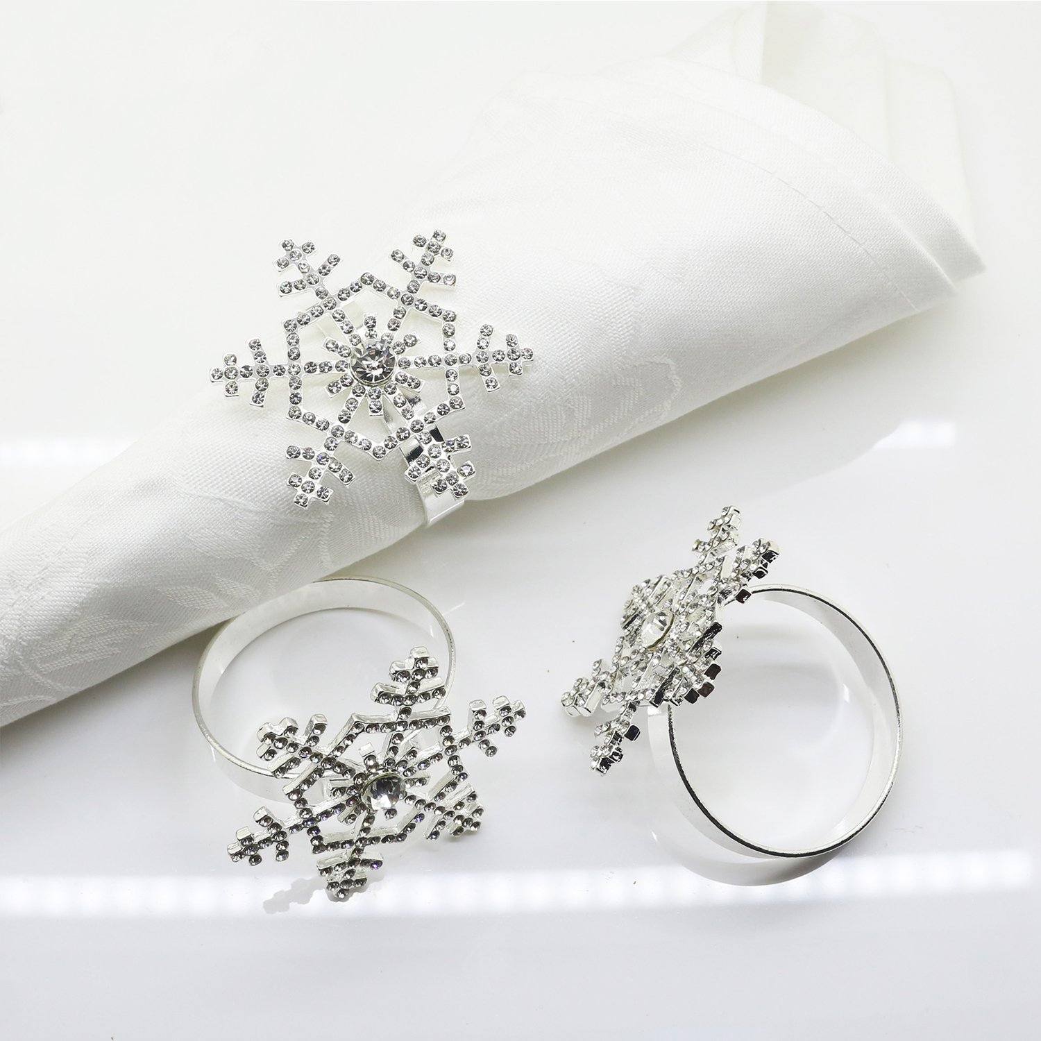 Snowflake Napkin Rings Set of 12 for Christmas, Holidays, Dinners, Parties,  Everyday