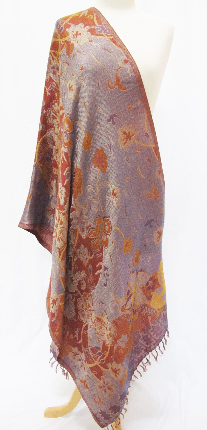 ''Misty Floral'' Silk Merino Wool Shawl Stole Scarf Wrap Purple Copper by Ashiana (Image #4)