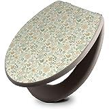 banjado Design Toilettensitz in Taupe | WC-Sitz Holz MDF 42,3x3,5x37,5cm | Klodeckel mit Edelstahl Scharnieren | Toilettendeckel mit Motiv Herbst Romanze