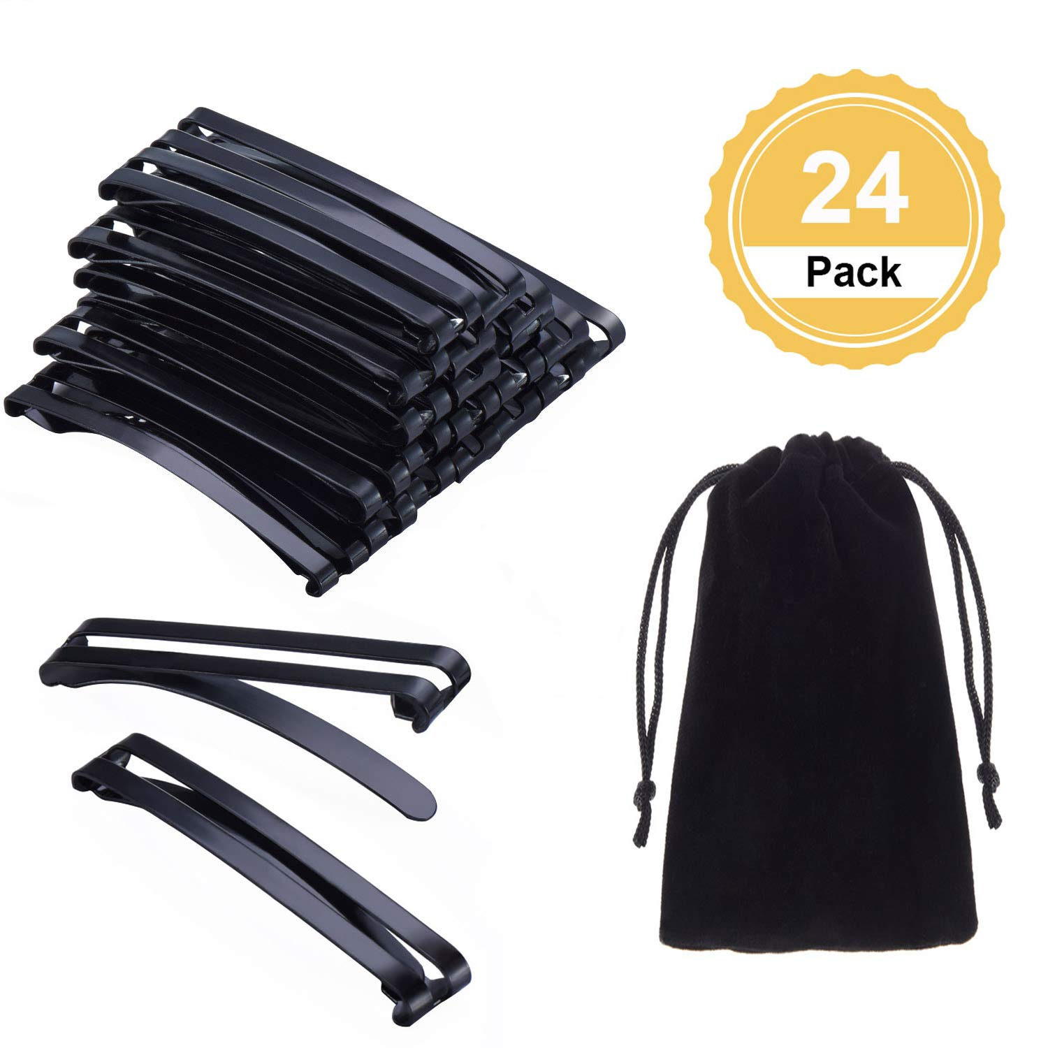 Canomo 24 Pack Stay Tight Grip Open Center Hair Barrettes Metal Hair Clips for Girls and Women, 60mm(Black) by Canomo (Image #1)