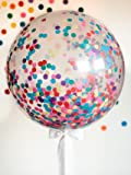 """36"""" Confetti Balloons Latex Balloon Paper Balloons Jumbo Transparent Crepe Paper Filled with Multi-color Confetti for any Party or Event (5 pieces)"""