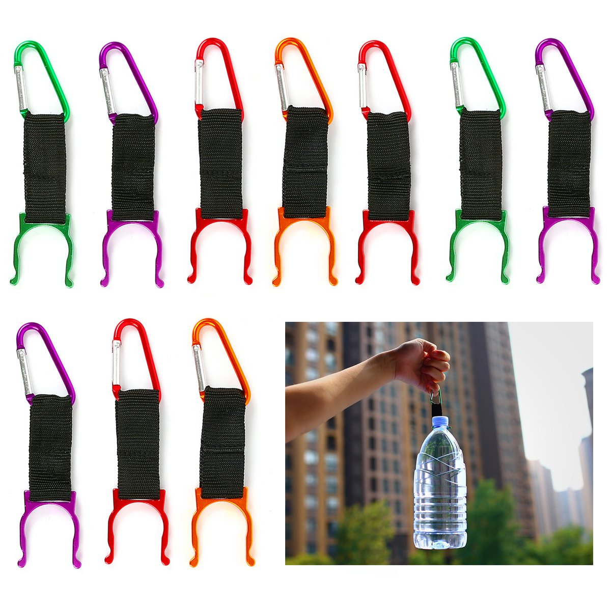 OUTFANDIA 5 Pack Silicone Water Bottle Holder Hook W//Key Ring Hanging Buckle Mineral Water Bottle Clip Drink Holder Buckle Outdoor Camping Hiking Traveling