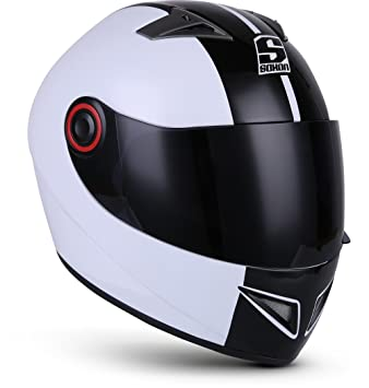Full Face Cruiser Helmets >> Soxon St 666 Deluxe White Black Street Full Face Cruiser Helmet