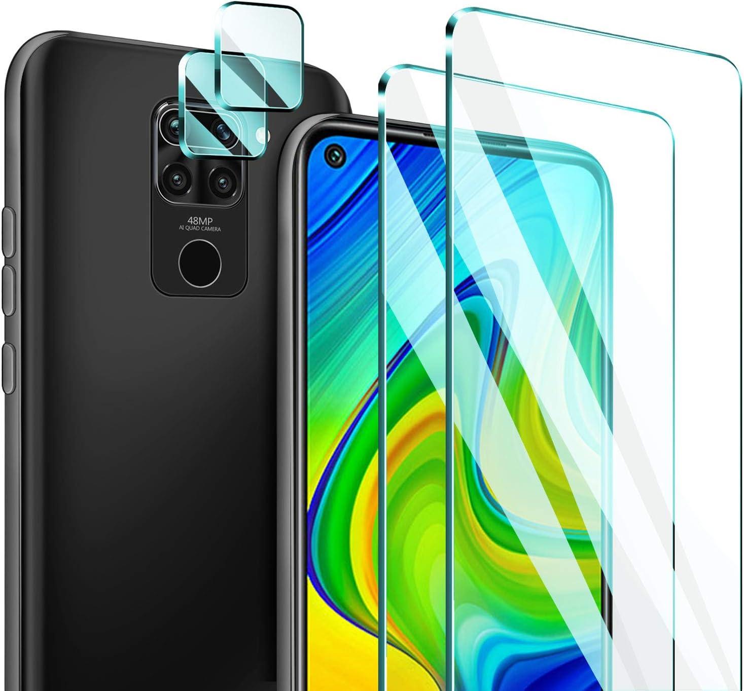 ivencase [2 Piezas Protector de Pantalla para Xiaomi Redmi Note 9 con [2 Piezas] Protector de Lente de Cámara, Cristal Templado Vidrio Templado Membrana[9H Dureza]: Amazon.es: Electrónica
