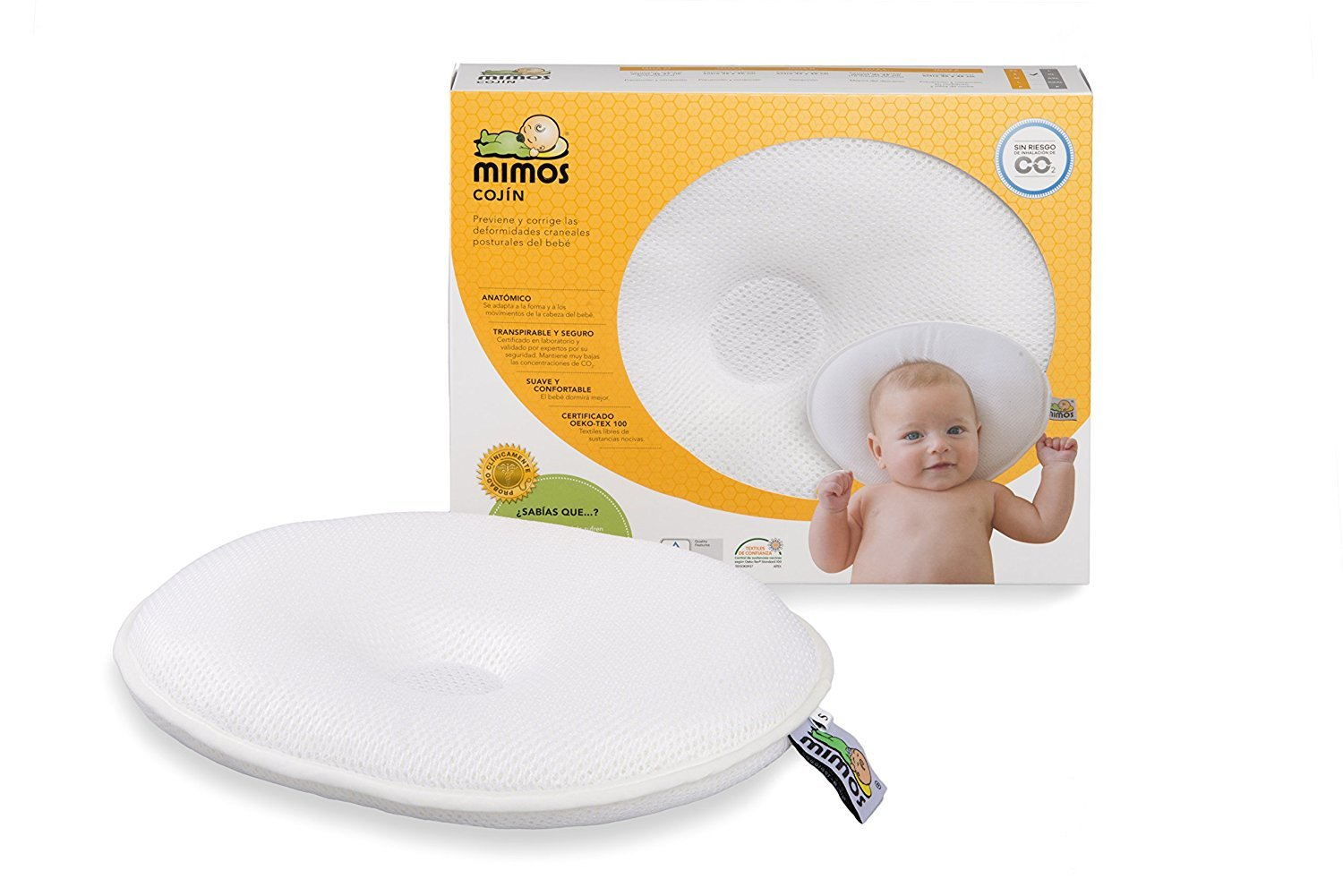 Mimos baby pillow (size-S) - proven effective for baby flat head (Plagiocephaly), scientifically verified airflow safe, head circumference 36 to 46 centimetres (Formerly size-XL)