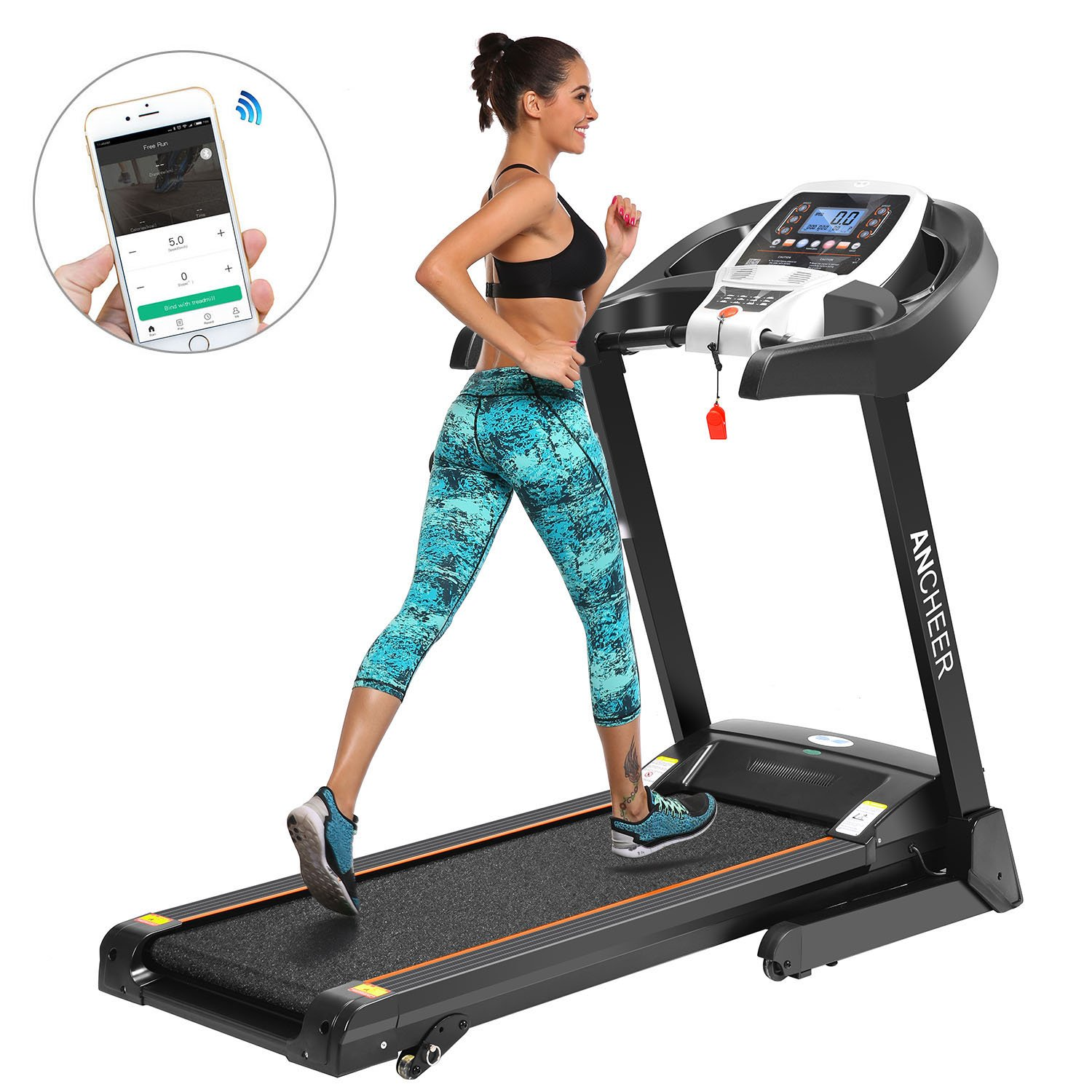 ANCHEER Treadmill, APP Control Electric Folding Treadmills (Black_2) by ANCHEER (Image #1)