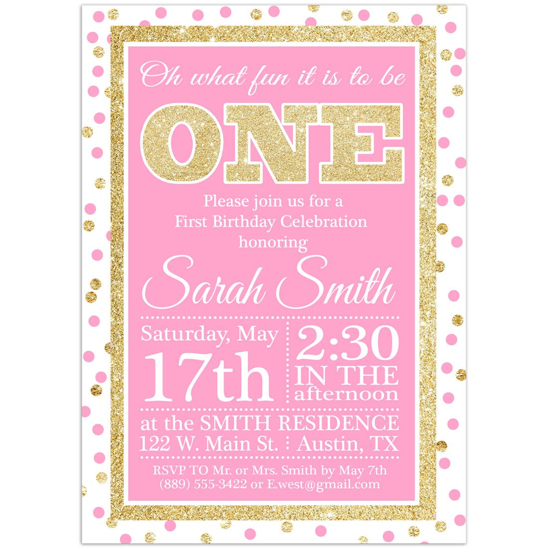 One Pink And Gold First Birthday Party Invitations
