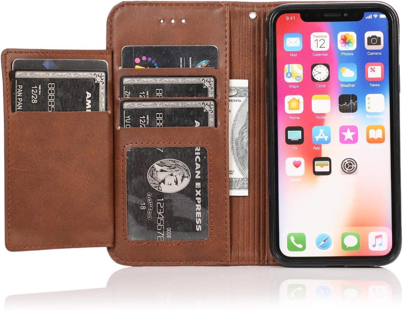 HUDDU Handyh/ülle Kompatibel mit iPhone X iPhone XS H/ülle Leder Wallet Schutzh/ülle 5 Kartenf/ächer Rei/ßverschluss Brieftasche Magnetverschluss Filp Tasche PU Case St/änder Lederh/ülle Wristlet Rose Gold