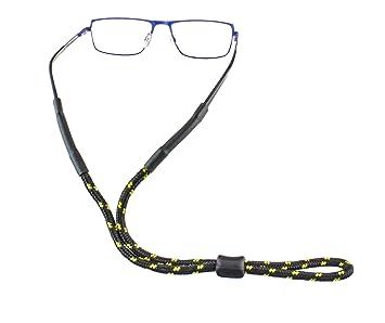 Cordon à lunettes d'extérieur avec butée en plastique dans différentes couleurs pour le sport et les loisirs (Noir profond – Bleu) LWljZvn