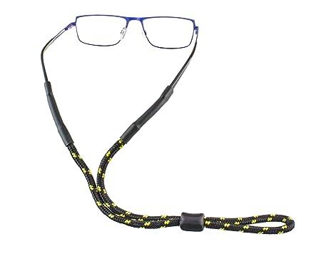 Cordon à lunettes d'extérieur avec butée en plastique dans différentes couleurs pour le sport et les loisirs (Noir profond – Orange) bCLr3