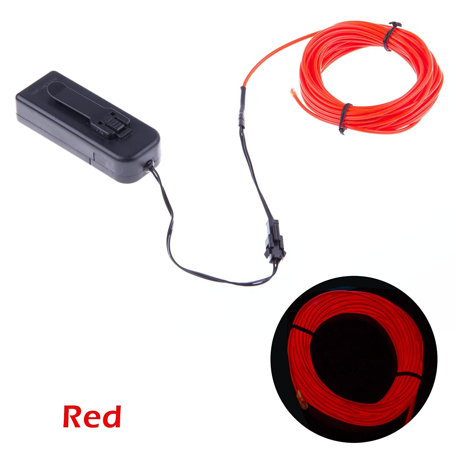Amazon.com : TopYart Neon LED Light Glow EL Wire Battery Pack String ...