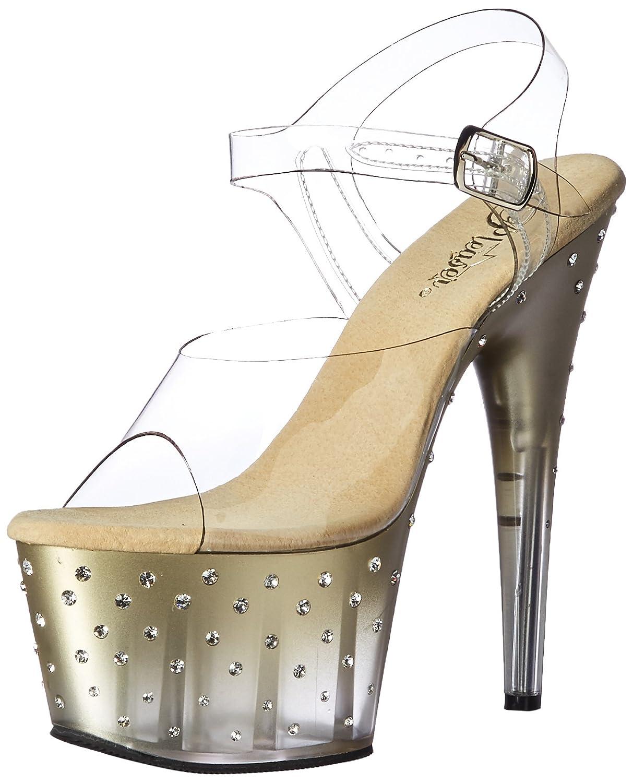 Pleaser Women's Stdus708t/c/g-c Platform Sandal B01N5EHVPO 7 B(M) US|Clr/Gold-clr